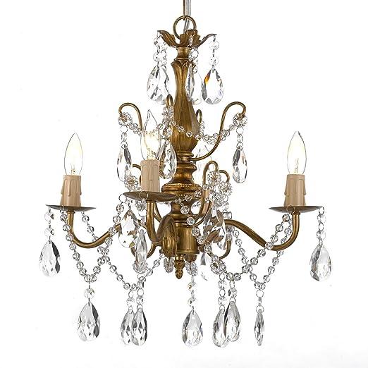 Amazon.com: Araña de hierro forjado y Crystal 4 Luz Oro H 14 ...