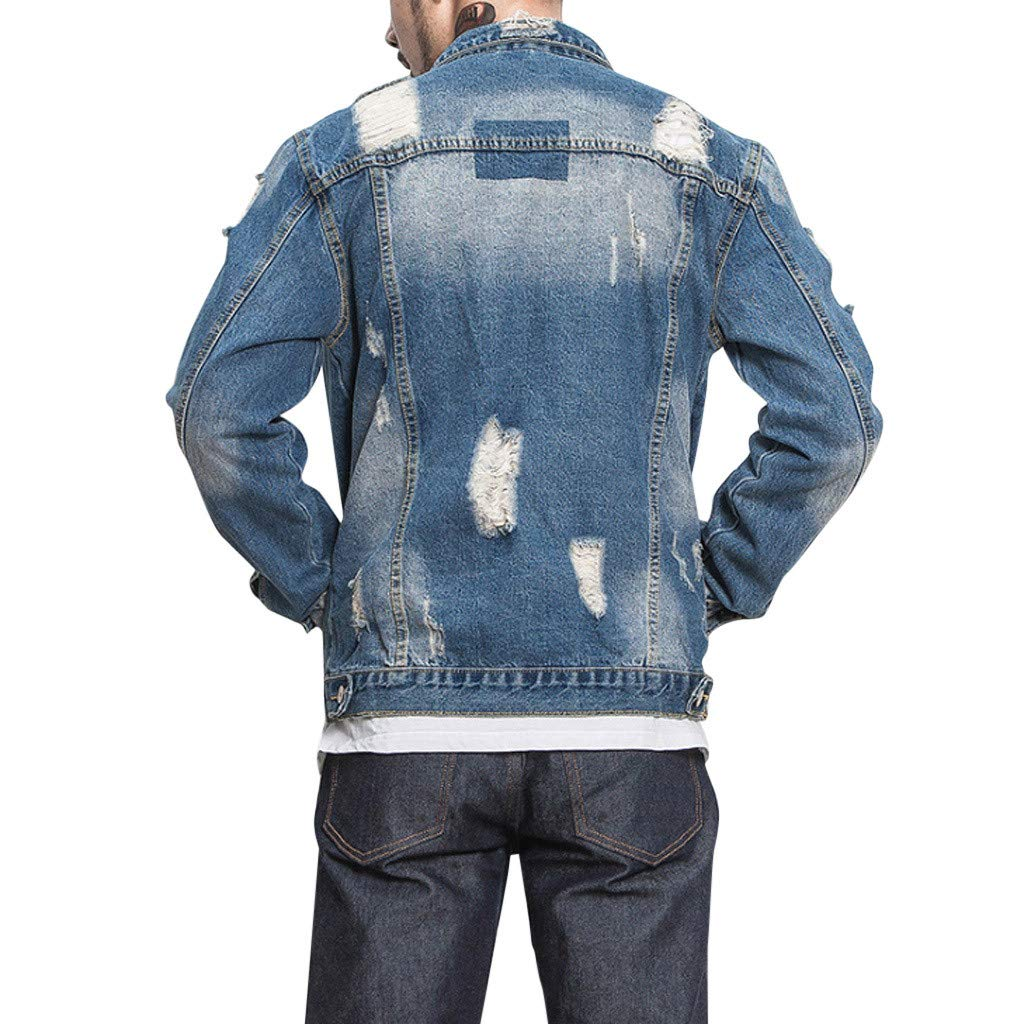 Mens Autumn Winter Button Solid Color Vintage Denim Jacket Tops Blouse Coat