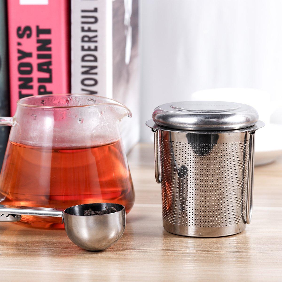 Cups 2 Pack 304 Stainless Steel Tea Strainer Tea Steeper /& 1 Scoop for Hanging on Teapots HOMEMAXS Tea Infuser for Loose Tea Mugs