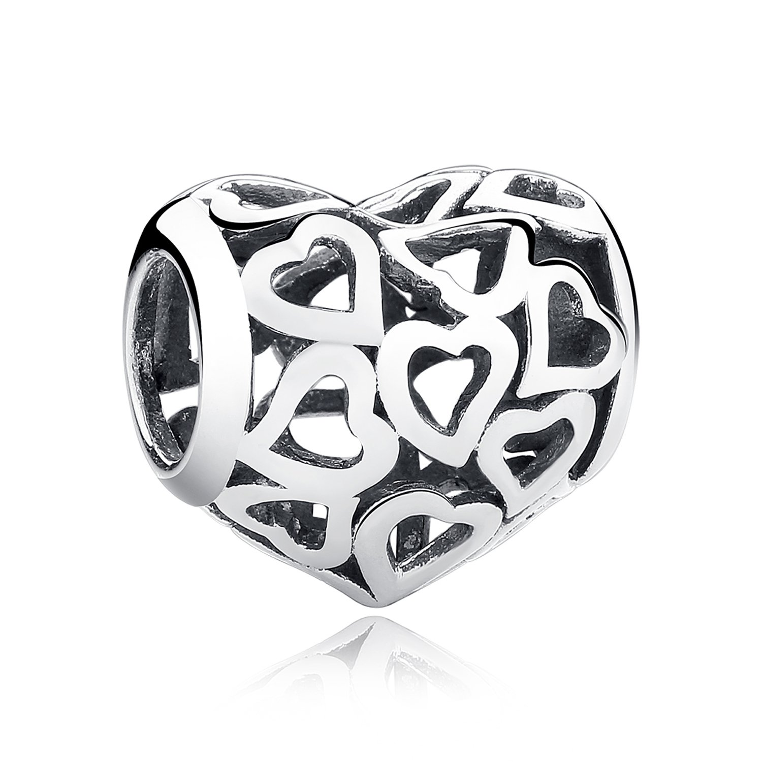 XingYue Jewelry Love Heart S925 Sterling Silver Openwork Bead Charm Protect Me in Your Heart Forever Charm Fit Bracelet (Openwork heart charm) by XingYue Jewelry (Image #1)