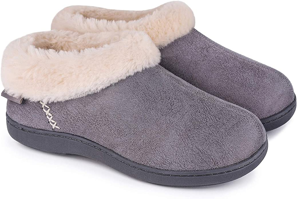 EverFoams Ladies/' Chenille Fuzzy Plush Lining Slippers with Cosy Memory Foam