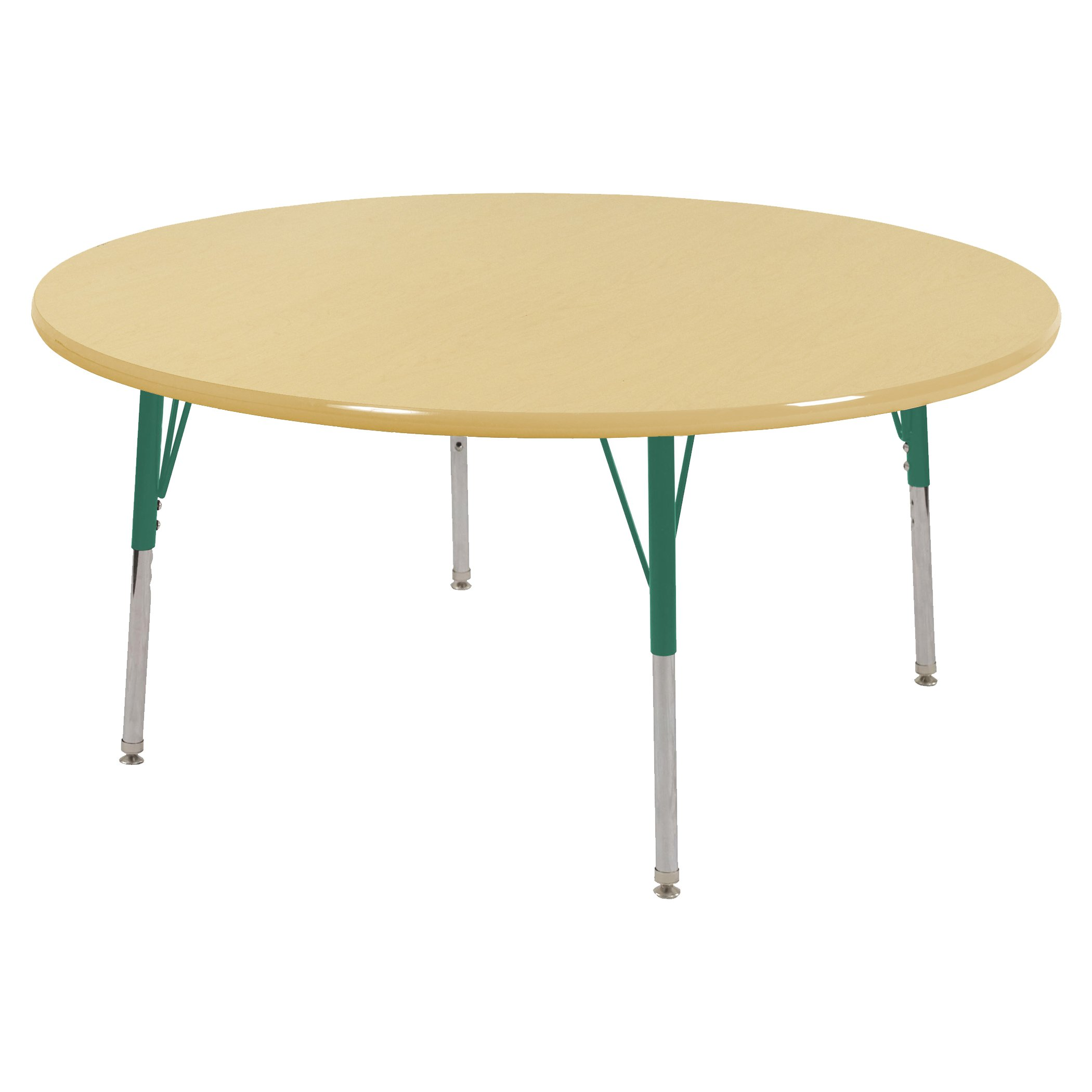 ECR4Kids T-Mold 48'' Round Activity School Table, Toddler Legs w/ Swivel Glides, Adjustable Height 15-23 inch (Maple/Green)