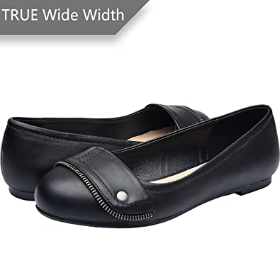 75c4dc8cb3f Luoika Women s Wide Width Flat Shoes - Comfortable Slip On Round Toe Ballet  Flats. (