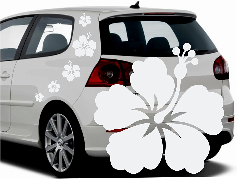 Folistick Hibiskus Hawaii Blumen Aufkleber Set Hibiskusblüten Autoaufkleber 5 Teilig Weiss Auto