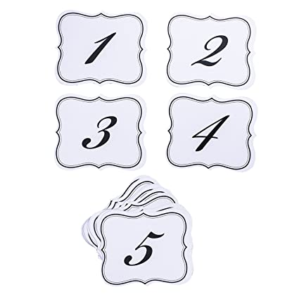 Amazon Numbers 1 25 Elegant Table Cards Wedding Reception David