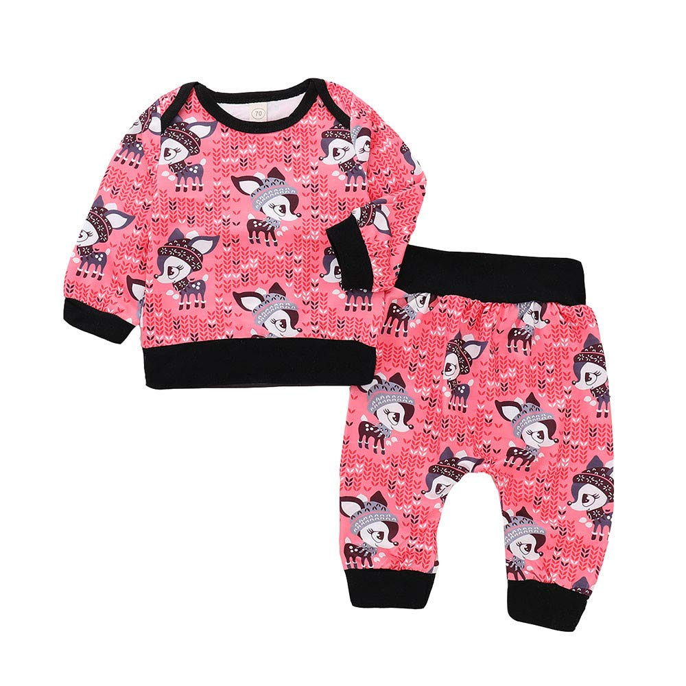 GoodLock Clearance!! Baby Girls Clothes Set Toddler Infant Little Fox Print Long Sleeve Top Pants Outfits 2Pcs (Hot Pink, 6 Months)