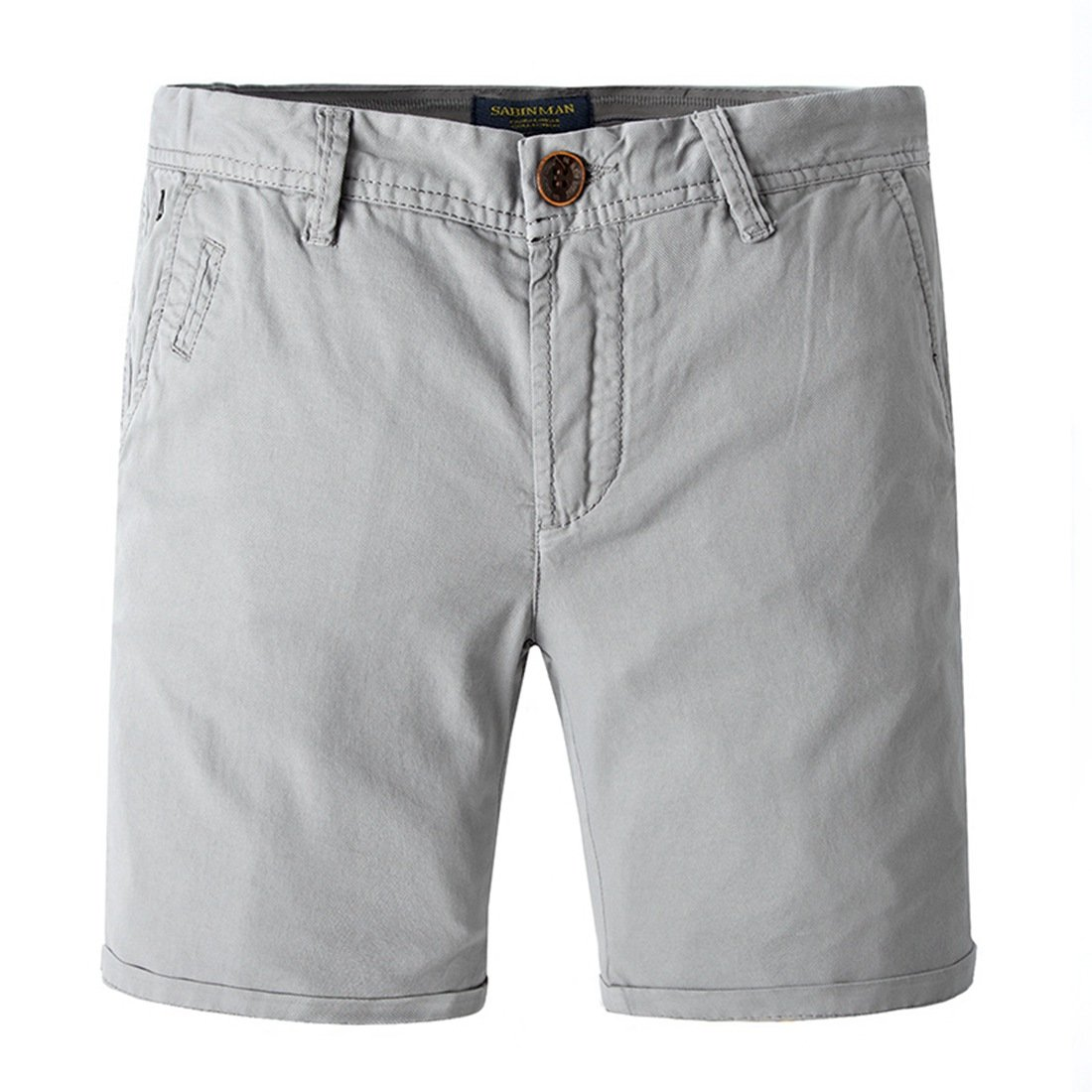 TBMPOY Men's Relaxed Fit Summer Board Solid Chino Deck Short(Light Grey,US 36)