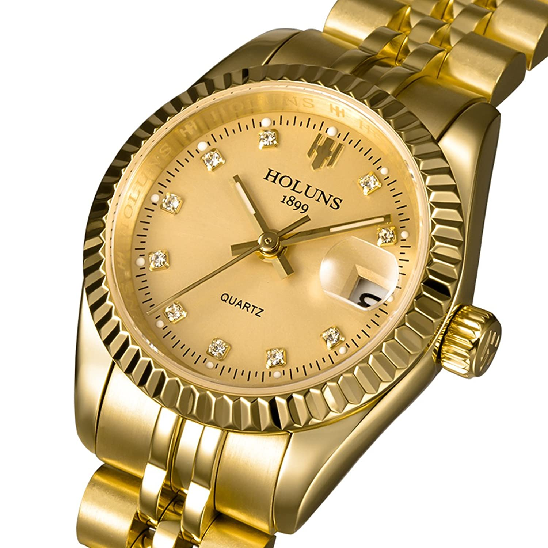 Holuns Ladies Watches Automatic Mechanical Luxuryゴールドドレスステンレススチールダイヤモンド腕時計 B06XFT4FV8