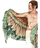 Delicately hand-painted and digitally printed Art of Wide-Spread Vintage Shawl, Scarf