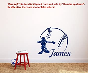 BASEBALL NAME Wall Decal Boy Custom Personalized BOYS DECOR Catcher Vinyl Baseball Teens Boys