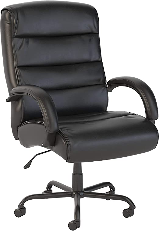 Bush Business Furniture Soft Sense Big and Tall High Back Leather Executive Office Chair in Black