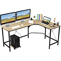 Deals on KINGSO L Shaped Computer Desk with CPU Stand 65-inch