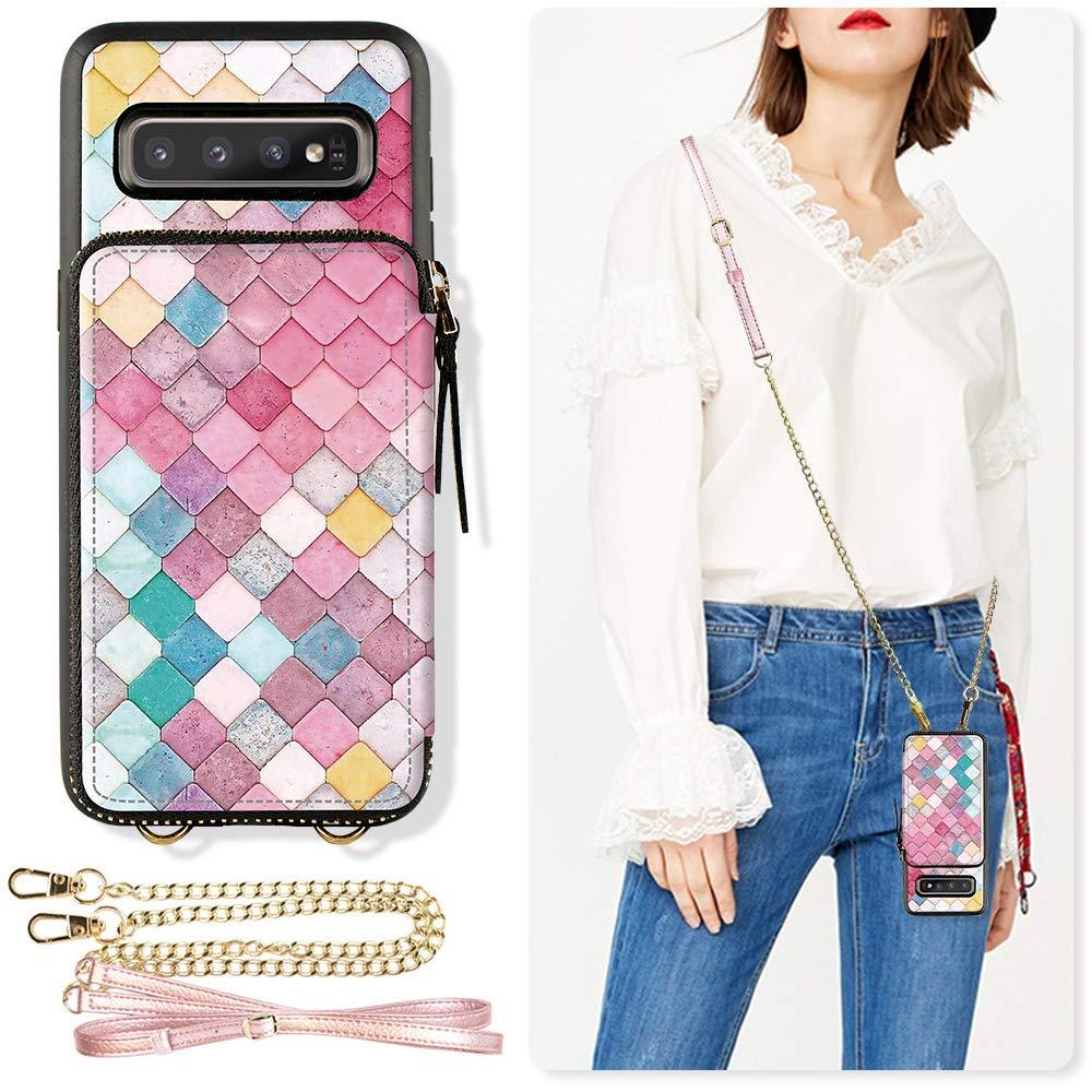 ZVE Samsung Galaxy S10+ Case Galaxy S10 Plus Zipper Wallet Case with Credit Card Holder Slot Crossbody Chain Handbag Purse Print Case for Samsung Galaxy S10 Plus (2019), 6.4 inch - Mermaid Wall by ZVE