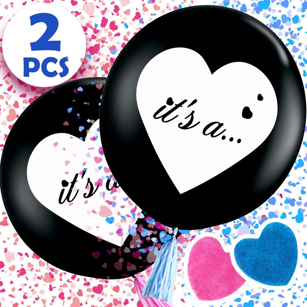 36 inch Big Black Latex Balloon for Boy or Girl Gender Reveal Aparty4u 2pcs Its a.. Baby Gender Reveal Balloon with Confetti