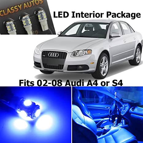 Classy Autos Audi A4 S4 interior de luces LED azul del paquete Kit B6 B7 (