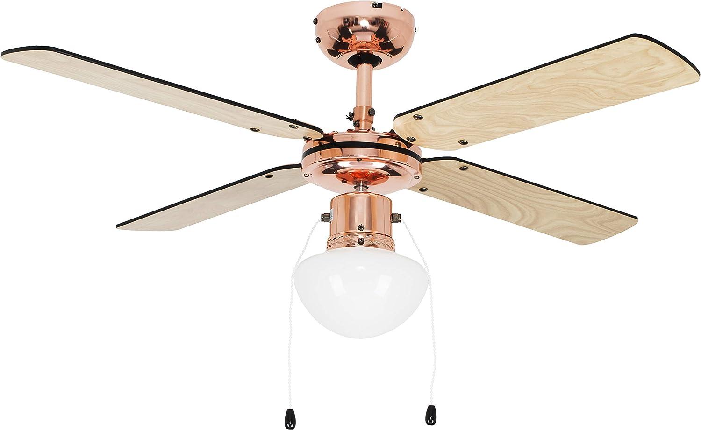 MiniSun - Contemporáneo Ventilador de Techo en Madera con Luz LED/Tamaño 106cm - Silencioso Interruptor de Cuerda - 4 Aspas Reversibles en Haya y Negro - 3 Velocidades - Motor DC
