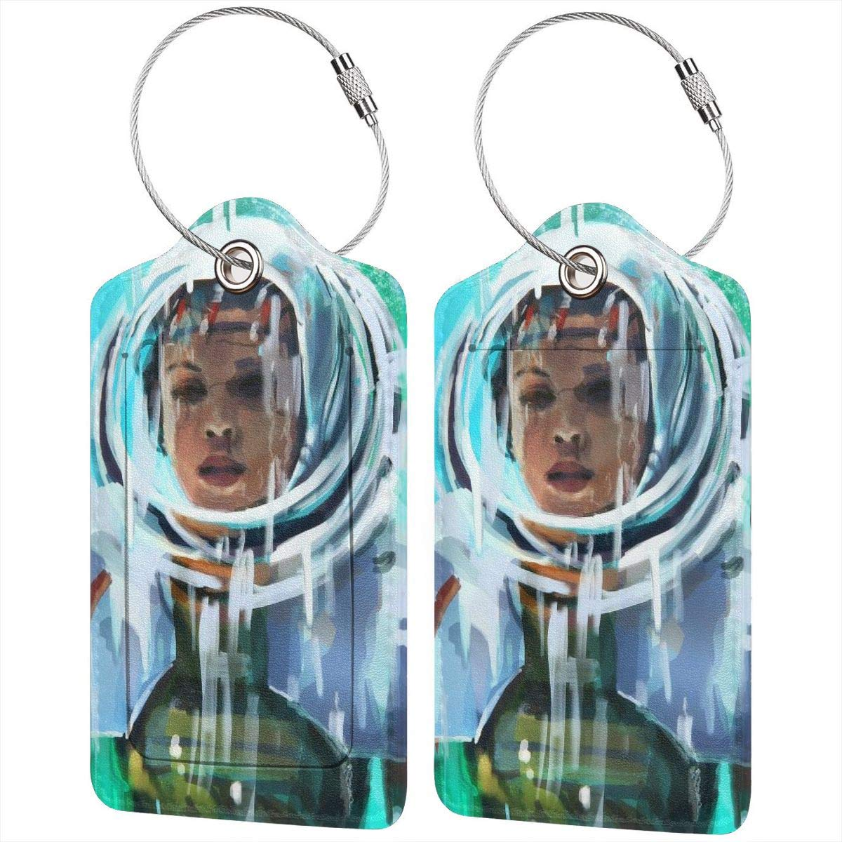 Astronaut Woman Luggage Tag Label Travel Bag Label With Privacy Cover Luggage Tag Leather Personalized Suitcase Tag Travel Accessories