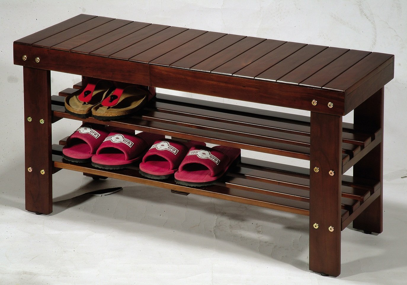 Amazon.com: Roundhill Furniture Pina Quality Solid Wood Shoe Bench, Cherry  Finish: Home U0026 Kitchen