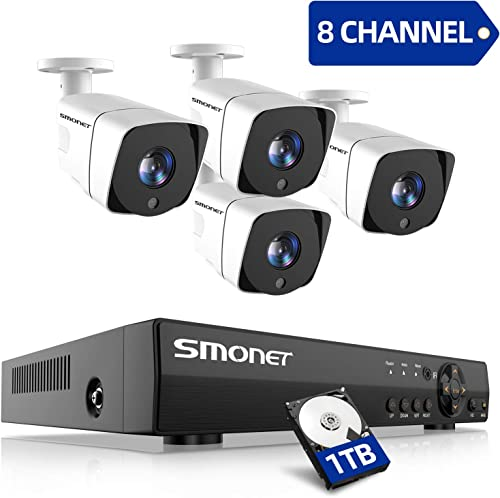 SMONET Security Camera System 1080P,8-Channel 5-in-1 2.0MP Home Security System 1TB Hard Drive ,4pcs Outdoor Indoor Security Cameras,P2P, Easy Remote View,Free APP,Super Night Vision