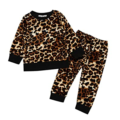 201814e1b7ba Baby Clothes Set, Girls Leopard Print Blouse + Pants Tracksuits Toddler  Long Sleeve Shirts Trouser
