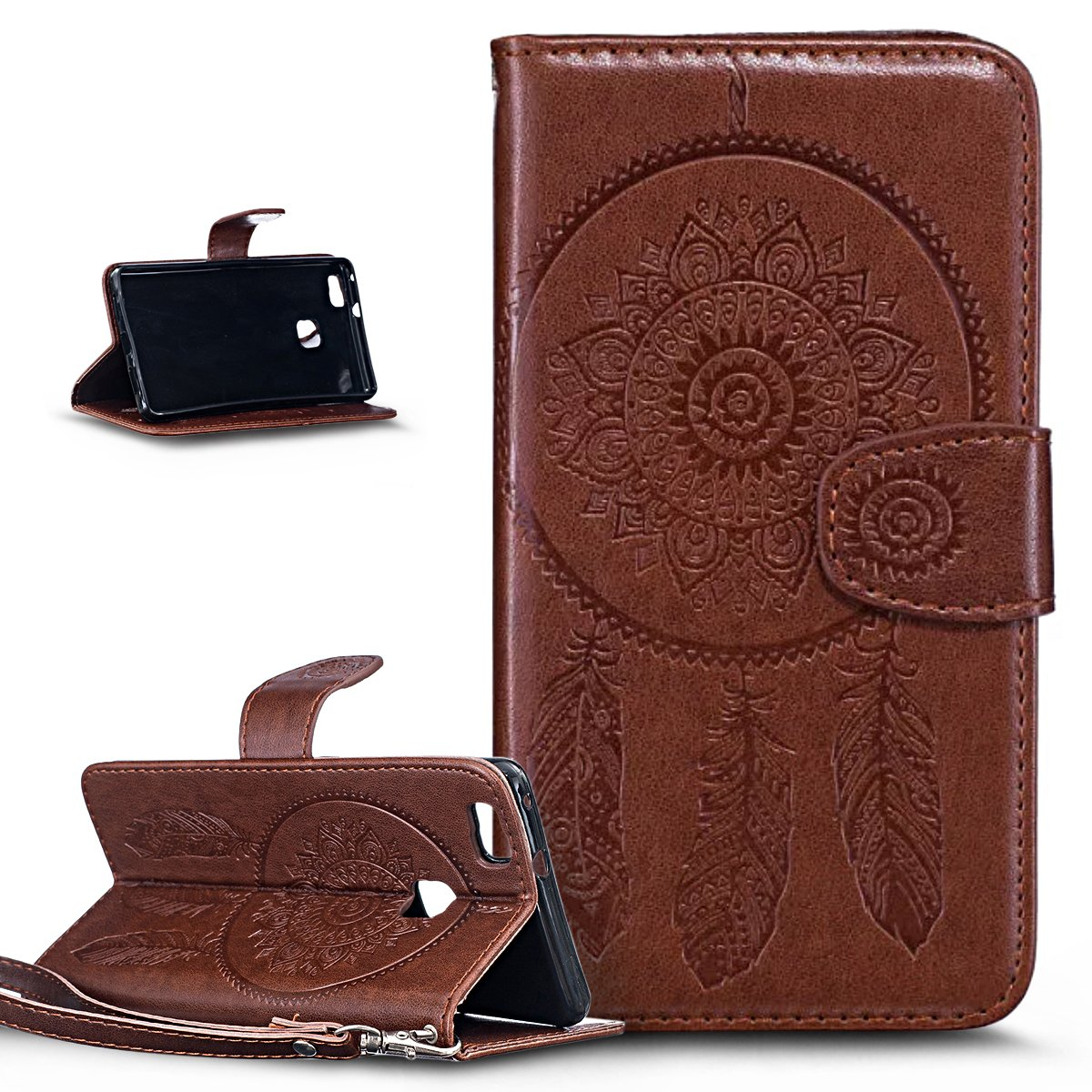 Huawei P9 Lite Case, Wallet Case for Huawei P9 Lite, ikasus Embossing Henna Mandala Floral Flowers PU Leather Magnetic Flip Folio Kickstand Wallet Card Slots Wallet Case for Huawei P9 Lite, Mandala:Brown