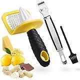 Citrus Lemon Zester Cheese Grater & Squeezer Reamer, 2 In 1 Zesting Tool Handheld Rasp for Parmesan Ginger Nutmeg Garlic…