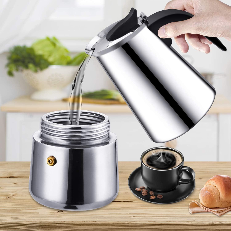 Cafetera italiana de inducción, para café expreso y café, de acero inoxidable, 6 tazas (300 ml), perfecta para uso en el hogar y la oficina: Amazon.es: Hogar