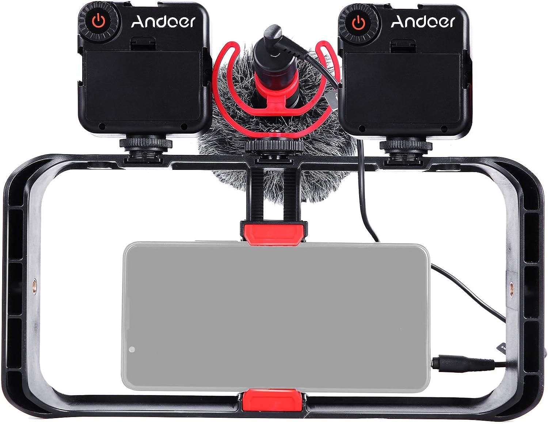 Andoer Smartphone Video Rig Kit con 1 * Jaula para Smartphone con 3 Soportes para Zapatos Fríos, 2 * Mini Luces de Video LED + 1 * Micrófono con Parabrisas Amortiguador para Grabaciones de Video
