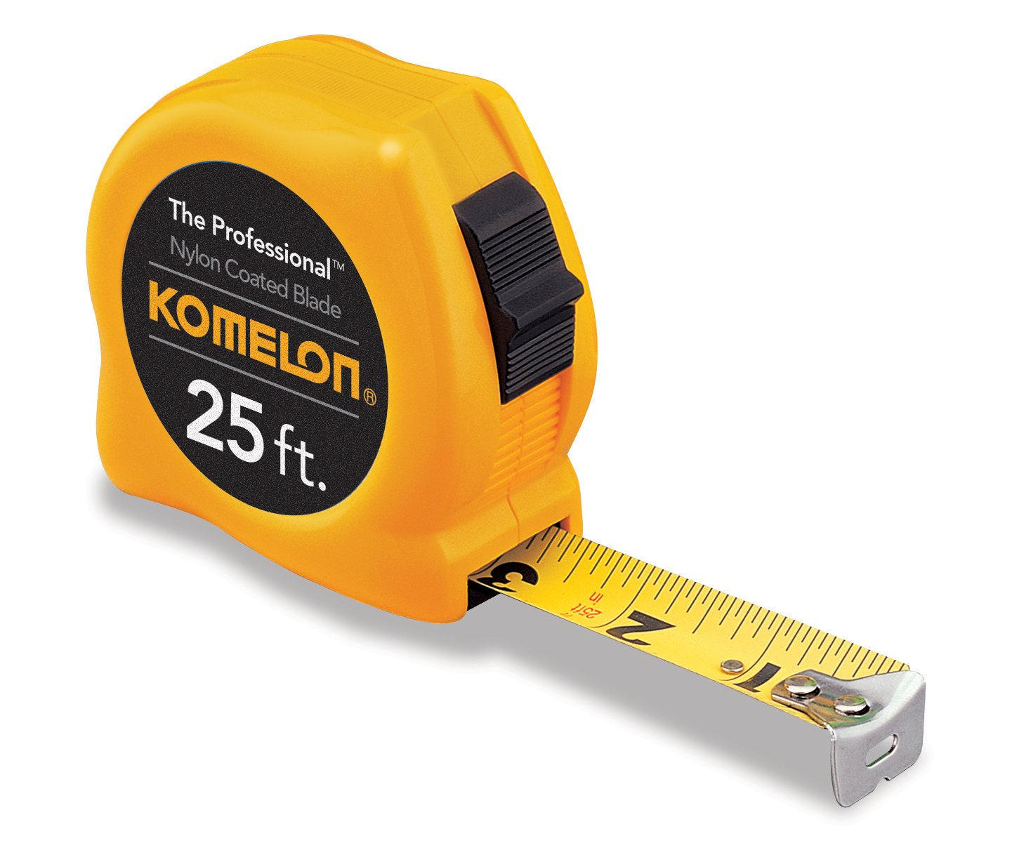 Komelon 4925 The Professional Nylon Coated Steel Blade Tape Measure 25-Inch by 1-Inch, Yellow Case