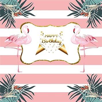 YongFoto 2,5x2,5m Vinilo Telón de Fondo Cumpleaños Rayas Rosas y Blancas Lindos Flamencos Fondo para Fotografia Fiesta Niños Boby Retrato Personal ...