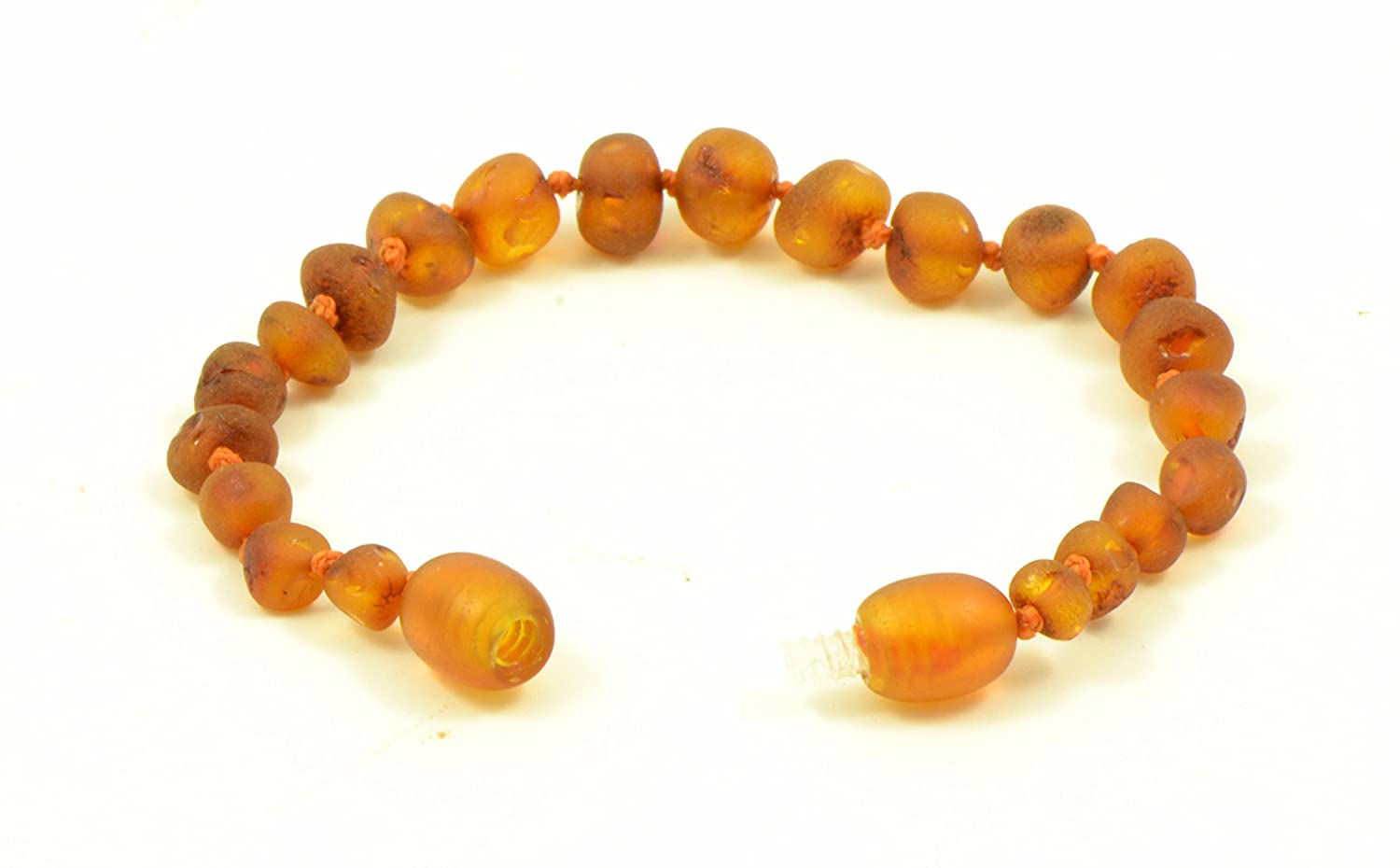 Amber Teething Bracelet Knotted Unpolished Amber Hand-Made 12cm Anti-Inflammatory Raw Cognac, 4.7 in Various Sizes Amber teething Anklet for Baby Genuine Raw Baltic Amber Bead Anklet