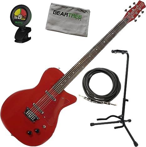 Danelectro 56 barítono guitarra eléctrica rojo w/soporte, Red ...