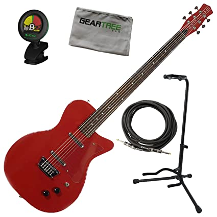 Danelectro 56 barítono guitarra eléctrica rojo w/soporte, Red, sintonizador, y paño