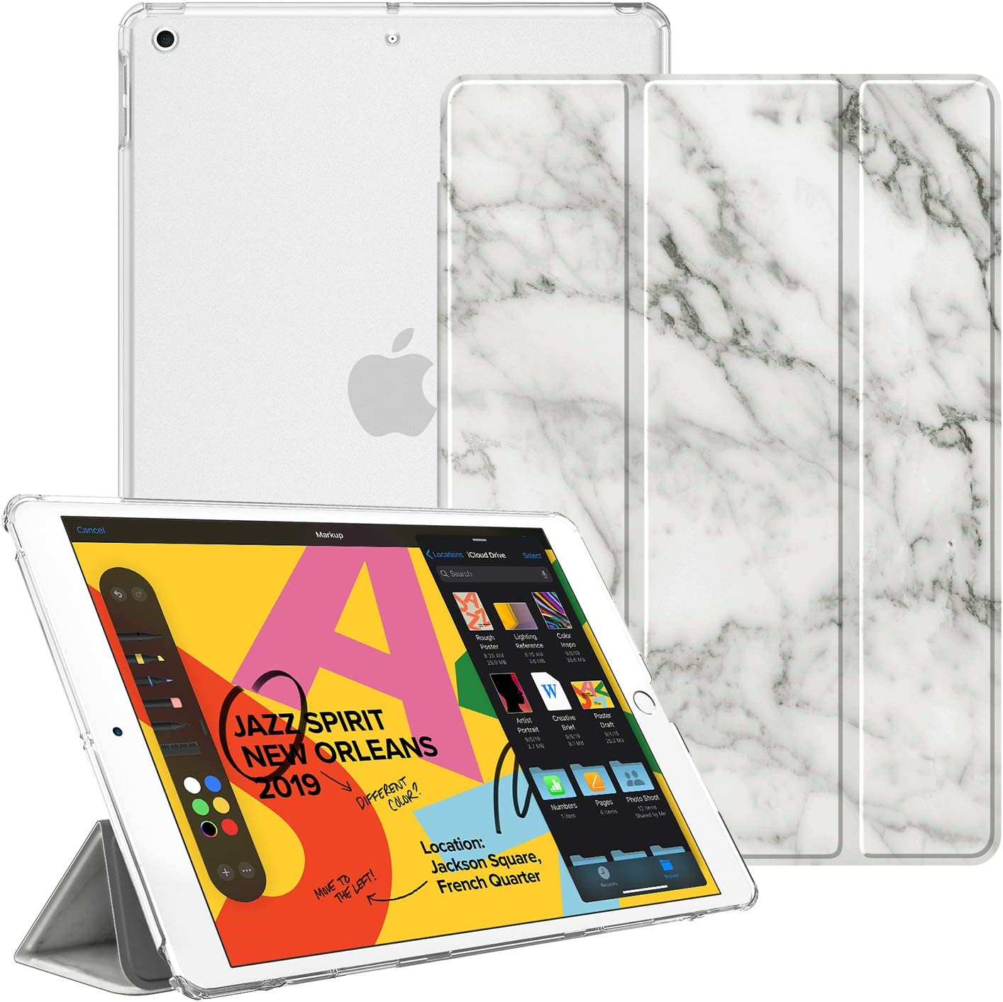 "Fintie Case for New iPad 7th Generation 10.2 Inch 2019 - Lightweight Slim Shell Stand with Translucent Frosted Back Cover Supports Auto Wake/Sleep for iPad 10.2"" 2019 Tablet, Marble White"