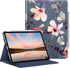 Fintie Case for iPad Pro 11-inch (3rd Generation) 2021 / iPad Pro 11 2020 & 2018 - Multiple Angle Viewing Folio Stand Cover with Pencil Holder & Pocket, Also Fit iPad Air 4, Blooming Hibiscus