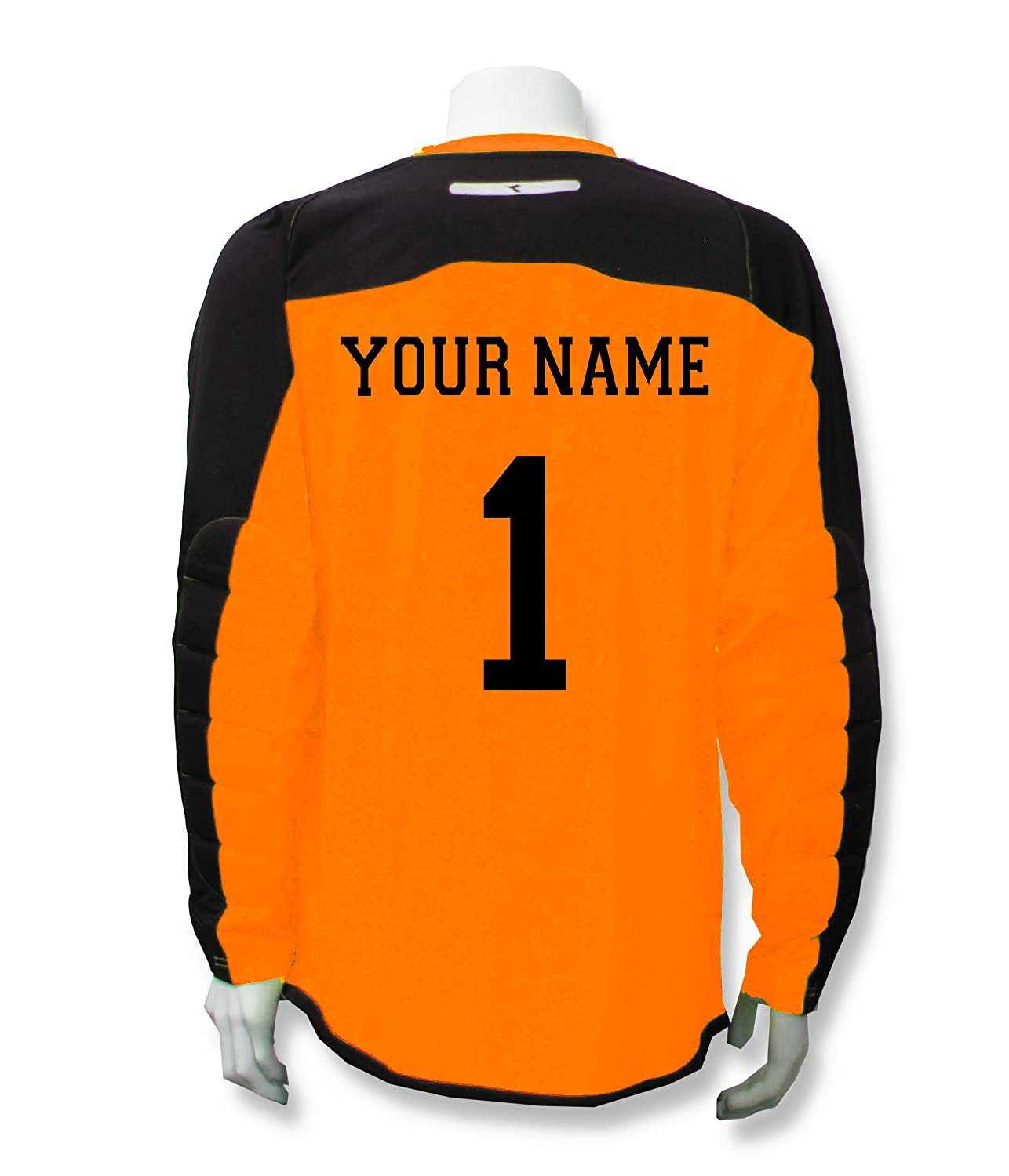 Diadora Enzo Goalkeeper Jersey Personalized with your name and number B072MK6H9P Medium|蛍光オレンジ 蛍光オレンジ Medium
