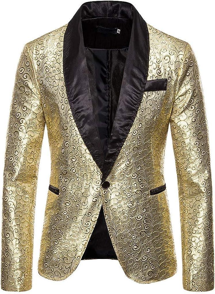 DAY8 Blazer Uomo Elegante Slim Fit Suit con Paillettes Bavero Abbigliamento Cappotto Giacca da Abito Uomo Eleganti Particolari Vestito Uomo Top Manica Lunga Affari Cerimonia