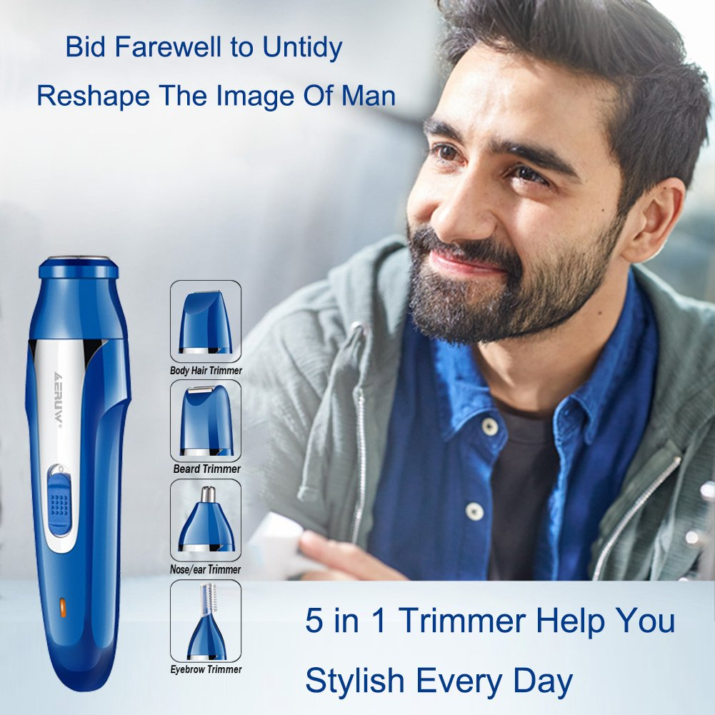 Nose Hair Trimmer for Men Rechargeble, 5 in 1 Personal Waterproof Electric Shaver Razor/Sideburns / Eyebrow/Body Hair Shaiver/Nose Ear Hair Removel Trimmer for Women Facial Bikini Grooming Kit