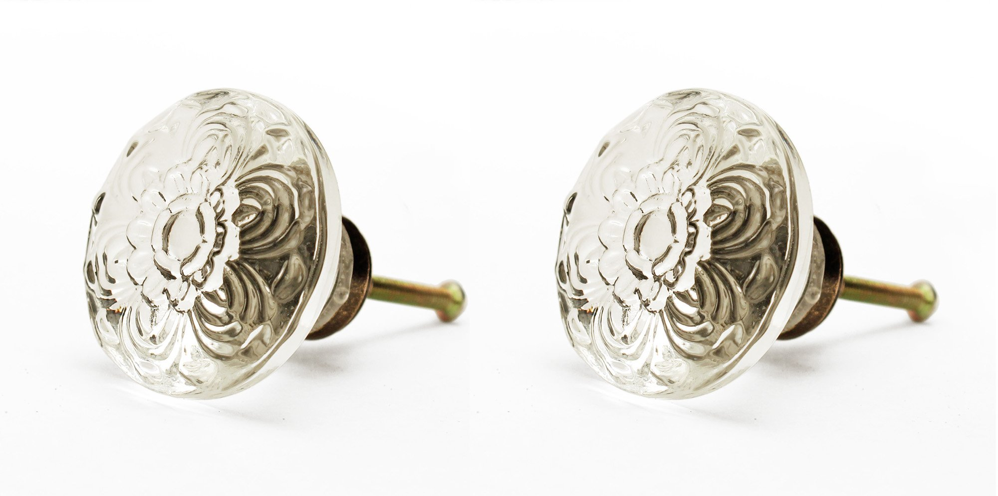 38mm Embossed Acrylic Daisy Cabinet Knobs with Antique Brass Hardware (Set of 2)