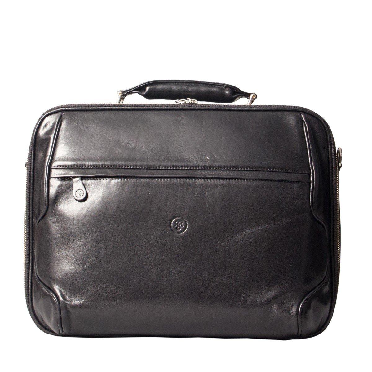 Maxwell Scott Luxury Black Leather Laptop Case (The Volterra) - One Size