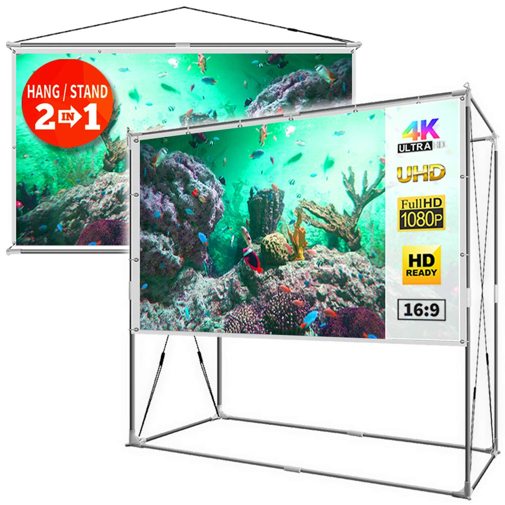 JaeilPLM 2-in-1 100-Inch Portable Projector Screen, Indoor Outdoor Compatible with Rectangle Stand for Home Theater, Gaming, Office (SQ100) by JaeilPLM