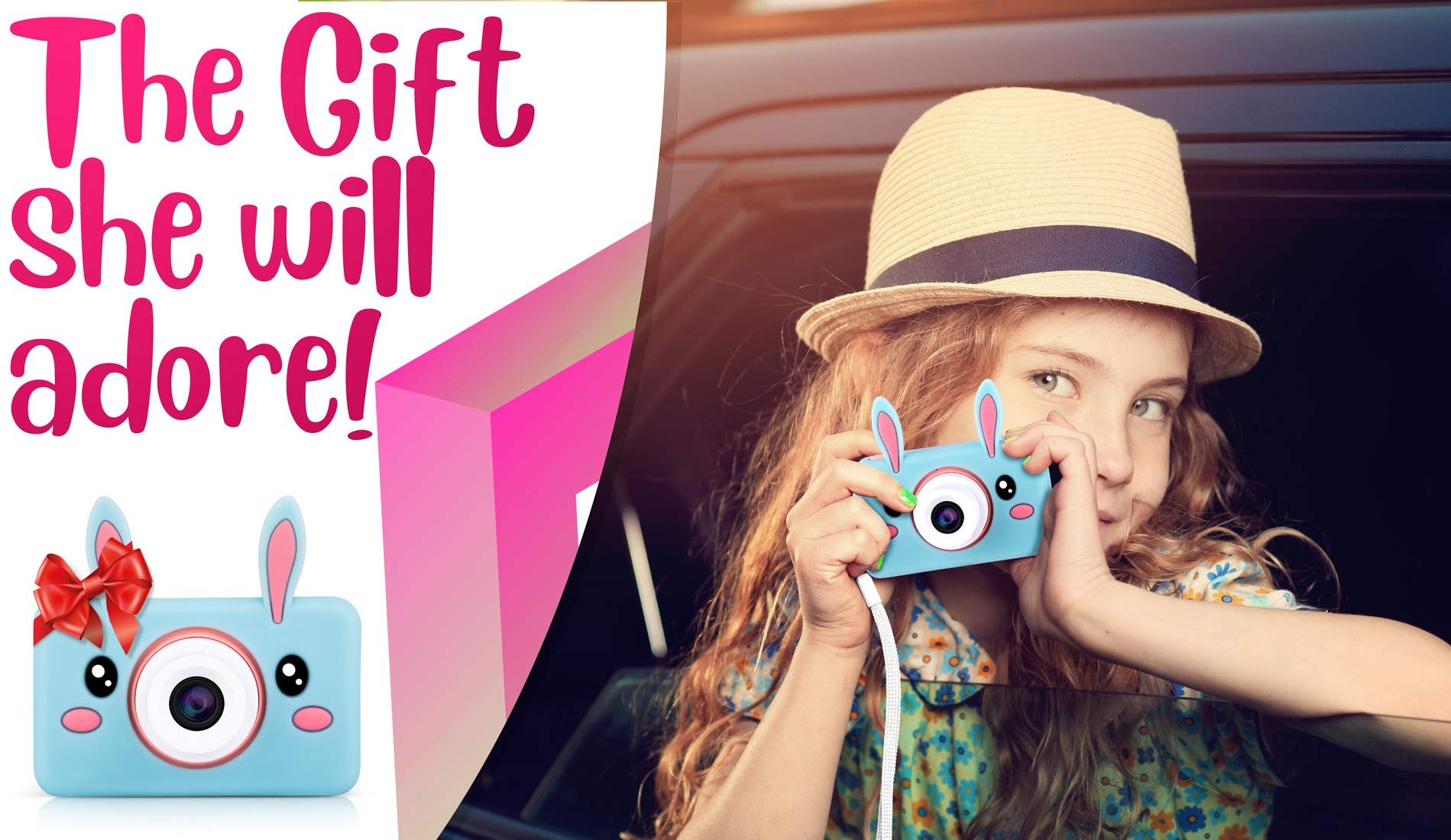 Lilexo Kids Camera - Children Shockproof Mini Digital Video Camcorder for Girls Gifts, Anti Slip Grip with Animal Silicone Cover for Extra Protection - 16GB Memory Card Included (Blue Rabbit) by Lilexo (Image #2)