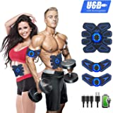 YOMYM Stimulator Muscle Toner Rechargeable Muscle Trainer Ultimate Abs Stimulator for Men Women Abdominal Work Out Ads Power Fitness Abs Muscle