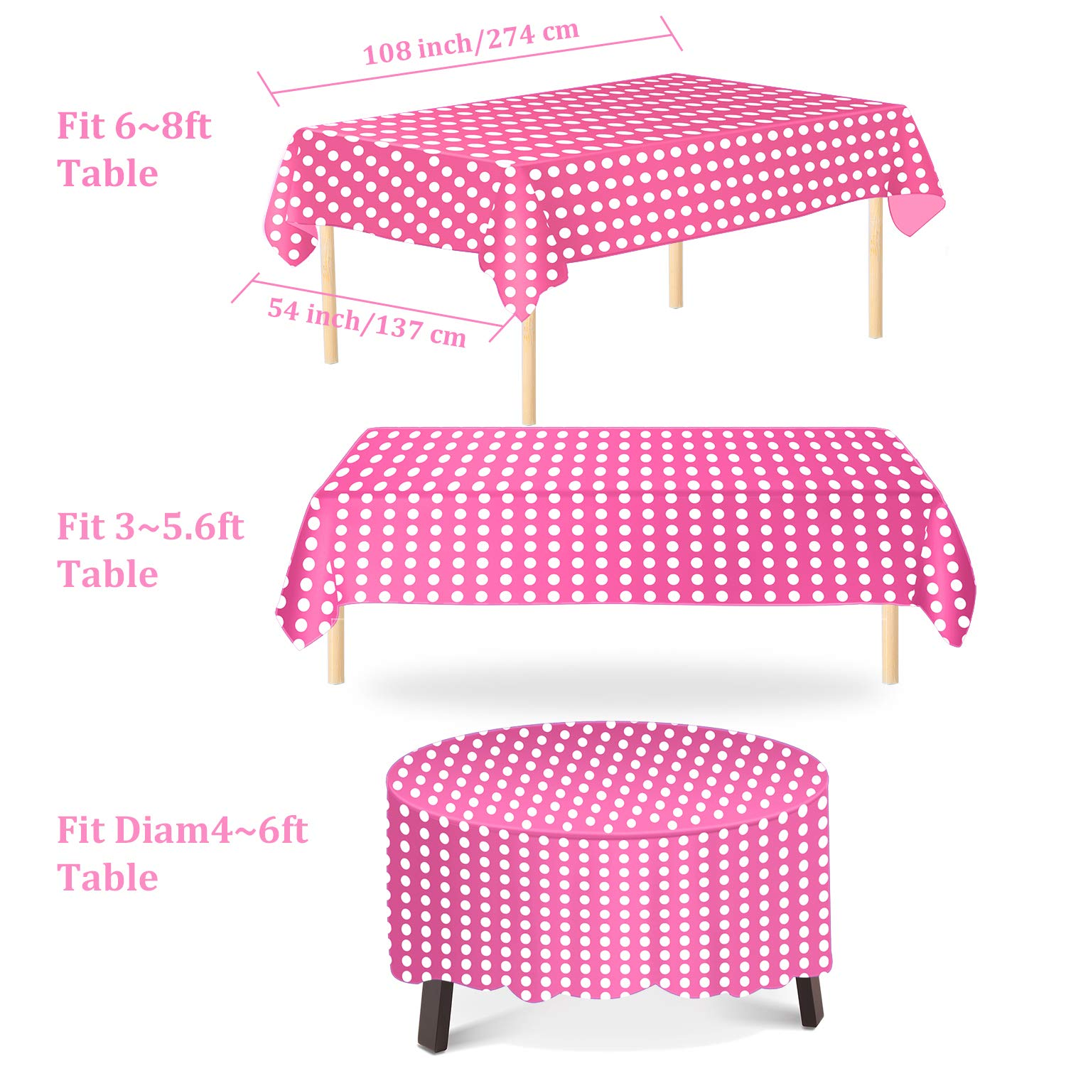 Aneco 6 Pack Disposable Tablecloths 54 x 108 Inch Plastic Rectangle Table Cloths Table Covers for Indoor or Outdoor Parties Birthdays Weddings Christmas
