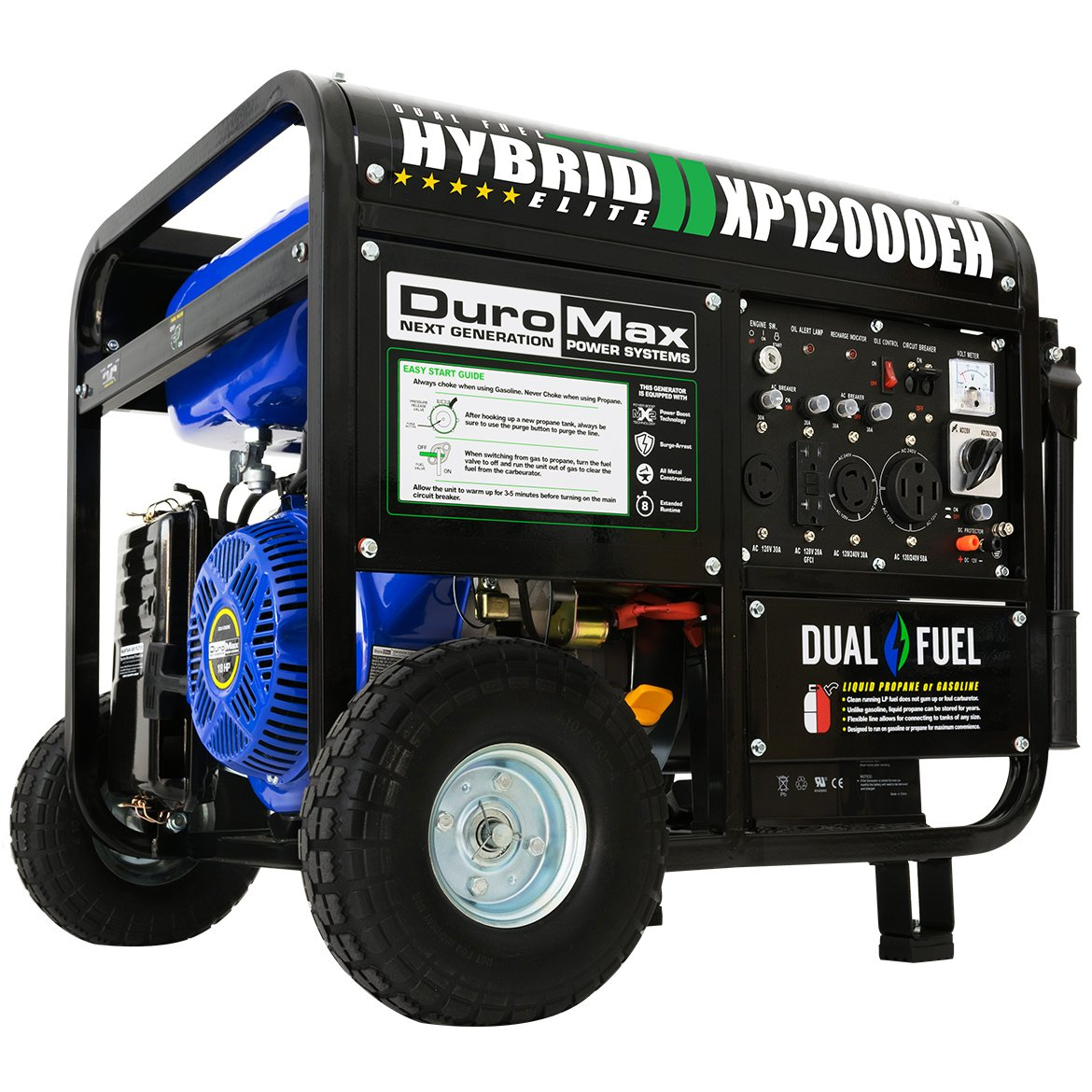 Amazon.com: DuroMax Hybrid Dual Fuel XP12000EH 12,000-Watt Portable  Generator: Garden & Outdoor