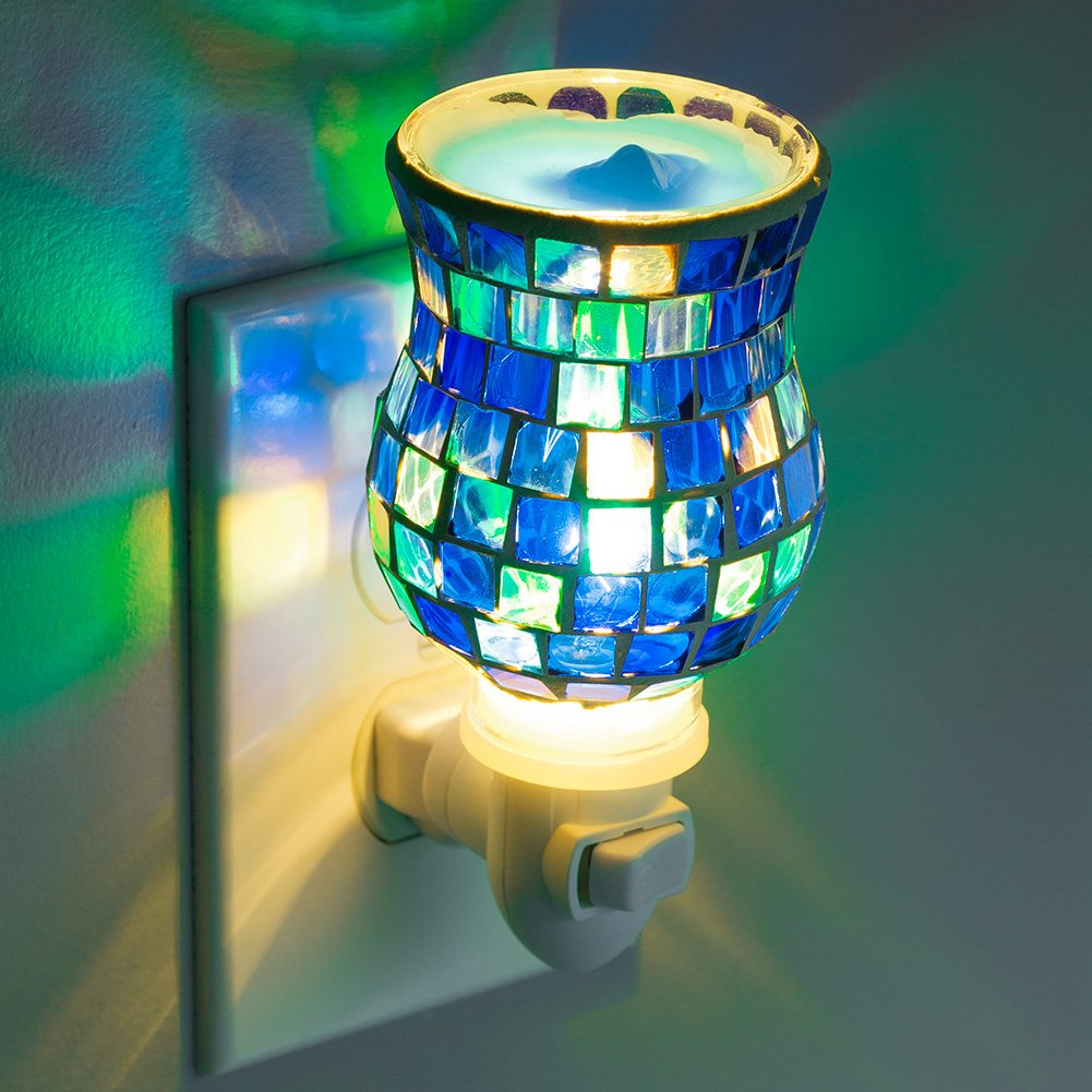 Mosaic Glass Plug-In Fragrance Wax Melt Warmers (Ocean Blue)