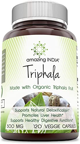 Amazing India Triphala Made with Organic Triphala Fruit 500 Mg, 120 Veggie Capsules Non-GMO - Supports Natural Internal Cleansing - Promotes Healthy Digestive Function - Antioxidant Support.