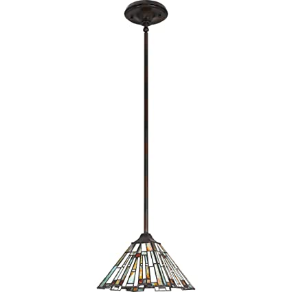 Quoizel Tfmk1508va Maybeck Tiffany Mini Pendant Ceiling Lighting 1 Light 100 Watt Valiant Bronze 6 H X 8 W
