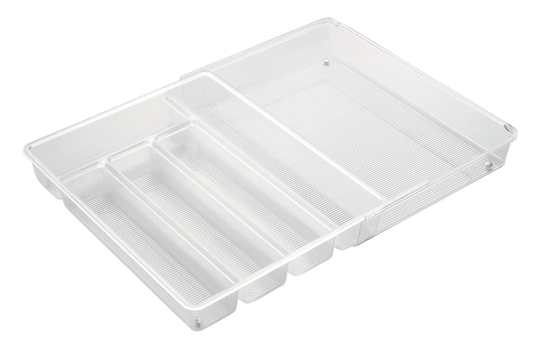 InterDesign Linus Portaposate da cassetto, Separatori per cassetti in plastica Senza BPA con 2 Scomparti Lunghi e Parte Estraibile, Trasparente 63230