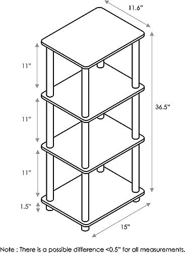 FURINNO Turn-N-Tube Shelf, 3 Space, Walnut Brown